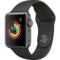 Apple Watch Series 3, GPS, 38mm Space Grey Aluminium Case with Sport Band, Grey