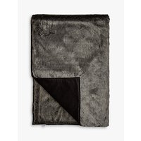 Helene For Denim Wardrobe Faux Fur Throw, Charcoal Frost