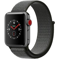 Apple Watch Series 3, GSP and Cellular, 38mm Space Grey Aluminium Case with Sport Loop, Dark Olive