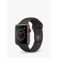 Apple Watch Series 3, GPS and Cellular, 42mm Space Grey Aluminium Case with Sport Band, Grey