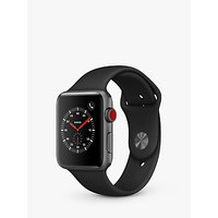 Apple Watch Series 3, GPS and Cellular, 42mm Space Grey Aluminium Case with Sport Band, Black