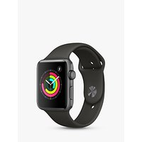 apple watch series 3, gps, 42mm space grey aluminium case with sport band, grey