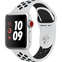 Apple Watch Nike+, GPS and Cellular, 38mm Silver Aluminium Case with Nike Sport Band, Pure Platinum / Black