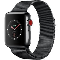 Apple Watch Series 3, GPS and Cellular, 38mm Space Black Stainless Steel Case with Milanese Loop, Space Black
