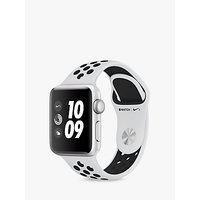 Apple Watch Nike+, GPS, 38mm Silver Aluminium Case with Nike Sport Band, Pure Platinum / Black at John Lewis Department Store