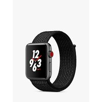 Apple Watch Nike+ Series 3, GPS and Cellular, 42mm Space Grey Aluminium Case with Nike Sport Loop, Black / Pure Platinum