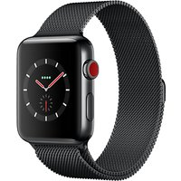 Apple Watch Series 3, GPS and Cellular, 42mm Space Black Stainless Steel Case with Milanese Loop, Space Black