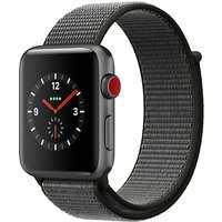 Apple Watch Series 3, GPS and Cellular, 42mm Space Grey Aluminium Case with Sport Loop, Dark Olive