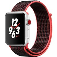 Apple Watch Nike+, GPS and Cellular, 42mm Silver Aluminium Case with Nike Sport Loop, Bright Crimson / Black