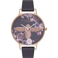 Olivia Burton OB16EM02 Women's Embroidered Bee Leather Strap Watch, Black