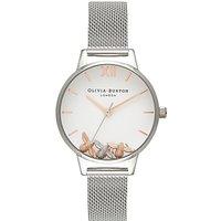 Olivia Burton OB16CH02 Women's Busy Bee Bracelet Strap Watch, Silver/White