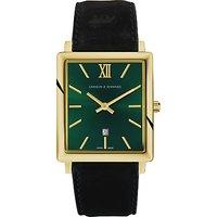 Larsson & Jennings NRS40-LBLK-CS-Q-P-GG Unisex Norse Date Leather Strap Watch, Black/Green