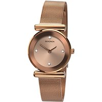 Sekonda 2301.27 Women's Mesh Bracelet Strap Watch, Rose Gold