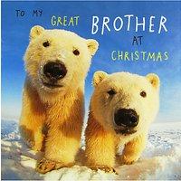 Paper House Polar Bears Brother Christmas Card