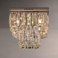 John Lewis Anastasia Square Crystal Semi Flush Ceiling Light, Crystal/Clear