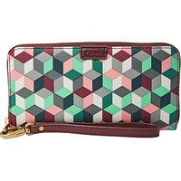 Fossil Emma Large Printed Zip Clutch Purse