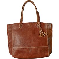 Fat Face Large Leather Tassel Tote Bag, Chestnut