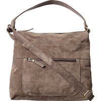 Fat Face Sally Suede Shoulder Bag, Charcoal