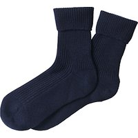 Pure Collection Cashmere Rich Ankle Socks, Navy