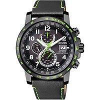 Citizen Mens Chronograph Tachymeter Date Eco-Drive Leather Strap Watch