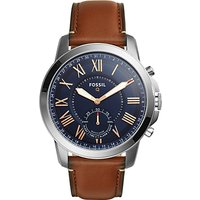 Fossil Q FTW1122 Men's Grant Leather Strap Hybrid Smartwatch, Brown/Navy