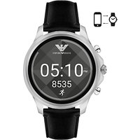 Emporio Armani Connected ART5003 Mens Leather Strap Touchscreen Smartwatch, Black