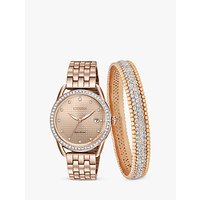Citizen FE6113-57X SET Womens Eco-Drive Swarovski Crystal Date Bracelet Strap Watch and Bangle Gift Set, Rose Gold