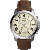 Fossil Q FTW1118 Mens Grant Chronograph Leather Strap Hybrid Smartwatch, Brown/Cream