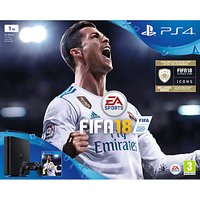 Sony PlayStation 4 Slim Console, 1TB, with DUALSHOCK 4 Controller and FIFA 18, Jet Black