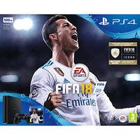 Sony PlayStation 4 Slim Console, 500GB, with DUALSHOCK 4 Controller and FIFA 18, Jet Black