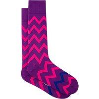 Paul Smith Bright Zigzag Socks, One Size, Purple/Pink