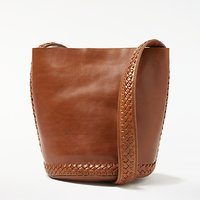 And/or Isabella Leather Whipstitch Small Bucket Bag, Tan