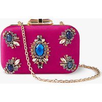 John Lewis Stella Stone Box Clutch Bag, Pink