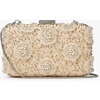 John Lewis Stella Floral Box Clutch Bag, Nude