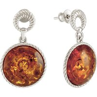 Be-Jewelled Round Amber Drop Earrings, Cognac