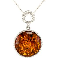 Be-Jewelled Round Amber Pendant Necklace, Cognac
