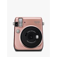 Fujifilm Instax Mini 70 Instant Camera With 10 Shots Of Film, Selfi Mode, Built-In Flash & Hand Strap, Rose Gold