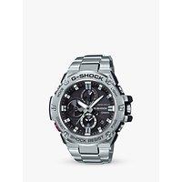 'Casio Gst-b100d-1aer Men's G-shock Chronograph Day Date Bracelet Strap Watch, Silver/black