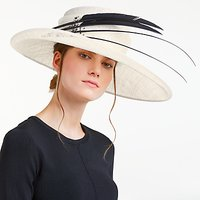 John Lewis Nora Side Up Feather Quills Occasion Hat, Ivory/Black