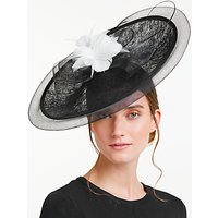 John Lewis Sarah Crin Trim Large Disc Occasion Hat, Black/White