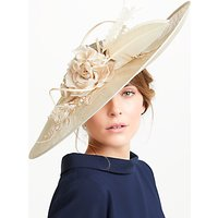 Vixen Millinery Arielle Side Up Disc Flower Detail Occasion Hat, Gold