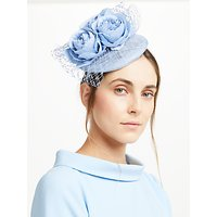 John Lewis Sophie Pillbox Rose Fascinator, Bluebell Blue