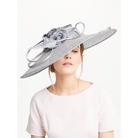 John Lewis Faye Floral Wide Brim Occasion Hat, Silver