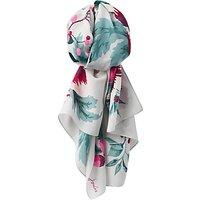 Joules Esme Silk Mix Camelia Flower Print Scarf, Silver/Multi
