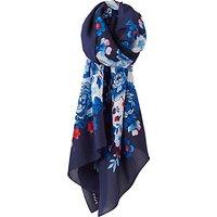 Joules Esme Silk Mix Pheasant Floral Print Scarf, Navy/Multi
