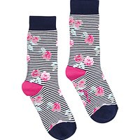 Joules Brilliant Bamboo Floral Socks, Navy/Pink