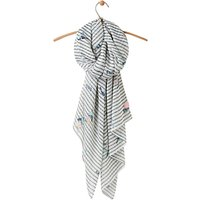 Joules Wensley Bird and Stripe Scarf, Green Mix