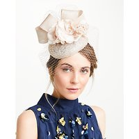 John Lewis Lee Pillbox Fascinator, Champagne/Blush