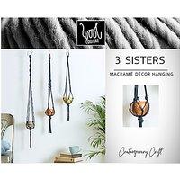 Wool Couture 3 Sisters Macrame Plant Hanger Kit, Denim