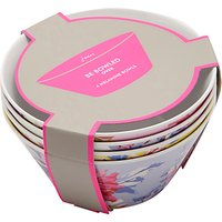 Joules Whitstable Floral Melamine Picnic Bowls, Dia.15cm, Assorted, Set of 4